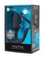 B-Vibe Snug & Tug: Silikon-Analplug mit Penisring (128g), schwarz