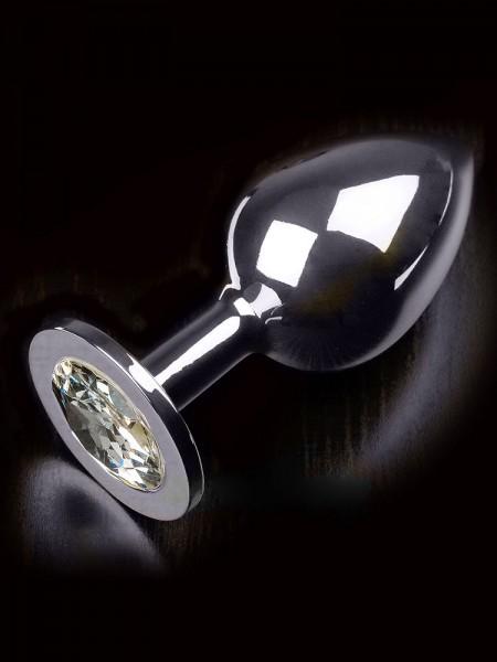 Dolce Piccante Jewellery Large: Edelstahl-Analplug, silber/klar