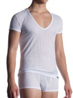 MANSTORE M2051: V-Neck-Shirt, weiß