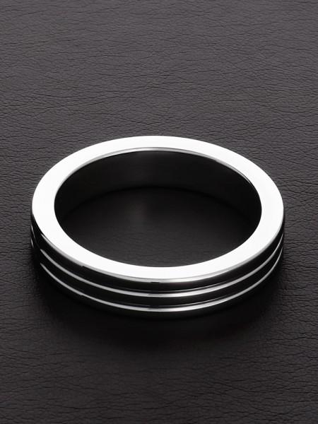 Triune Black Ribbed C-Ring: Edelstahl-Penisring