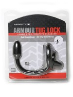 Perfect Fit Armour Tug Lock Small: Penis-/Hodenring mit Analplug, schwarz