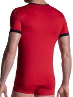 MANSTORE M2103: V-Neck-Shirt, rot/schwarz