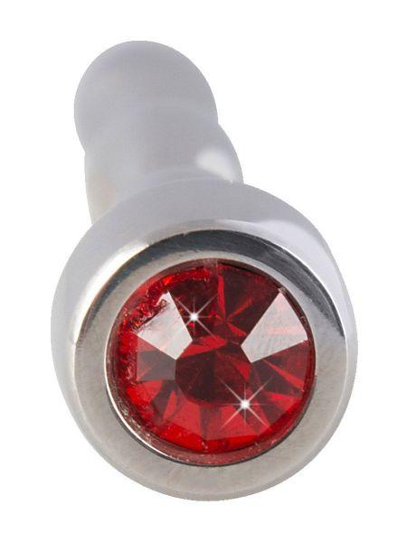 Penisplug Jewellery: Edelstahl-Penisplug mit rotem Schmuckstein