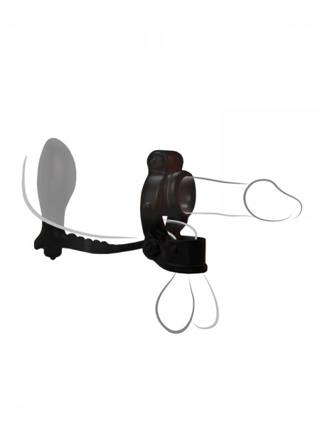 C-Ringz Ironman Ass Gasm: Vibro-Penis-/Hodenring mit Analplug, schwarz